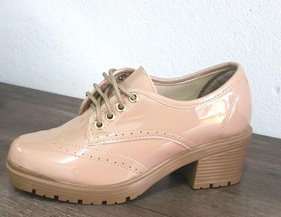 Sapato Oxford Feminino Verniz Salto