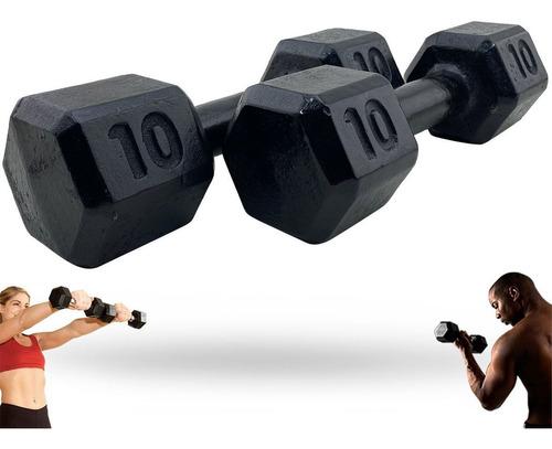 Imagem 1 de 7 de 2 Halteres 10 Kg Sextavado Par Peso Academia Musculação Fit