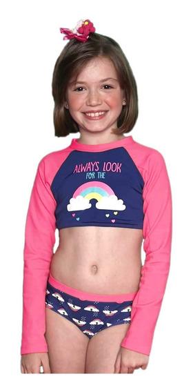 Biquíni Cropped Infantil Arco-íris Azul Marinho E Rosa Flúor