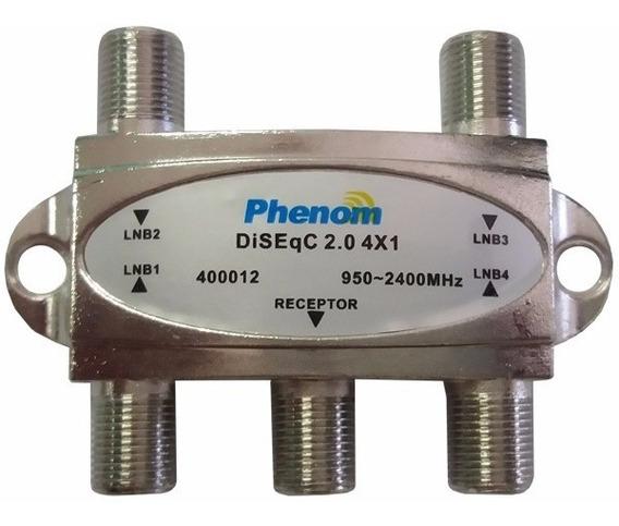 Chave Comutadora Diseqc 2.0 Quatro Antenas 4x1 Phenom