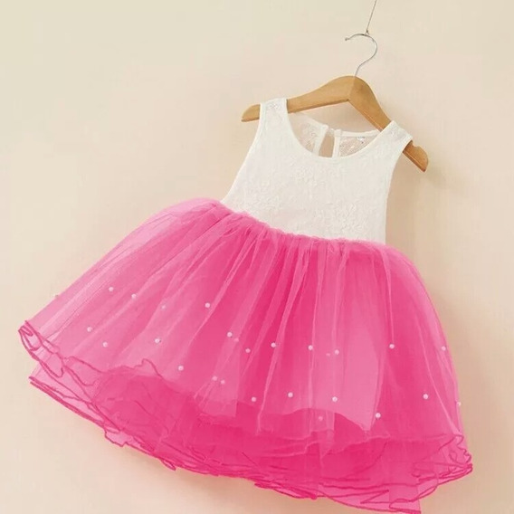Vestido De Festa Infantil Menina Princesa Aniversário Rosa