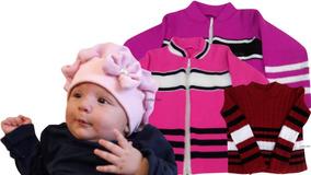 Boina Bebê Infantil Menina 0 Até 3 Anos + Blusa De Frio