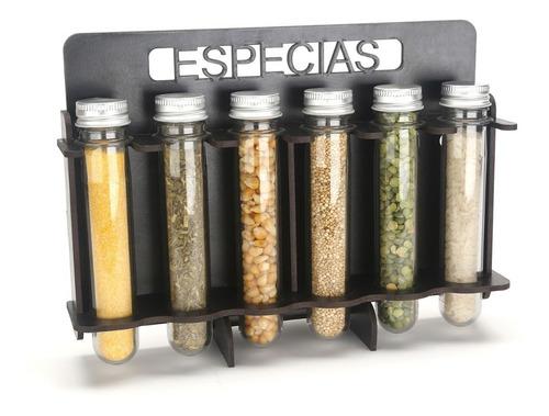 Imagen 1 de 4 de Especiero De Madera Condimento Estante Pared Frasco Tapa X6