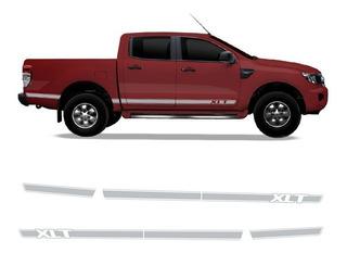 Kit Adesivo Ford Ranger Xlt Faixa Lateral Prata Acessório