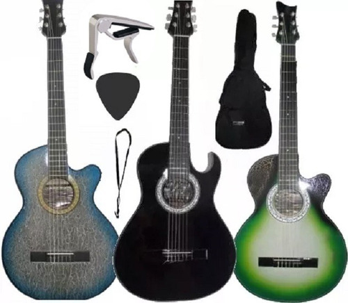 Guitarra Acustica Forro Colgador Pua Capodastro