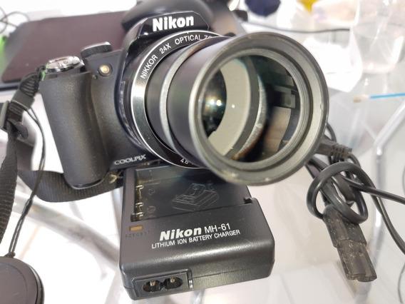 Frete Grátis! Câmera Nikon P90 Com 24x De Zoom + Itens