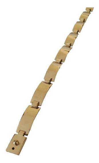 Bracelete Feminino De Placa 8 Gramas Ouro 18kl 750