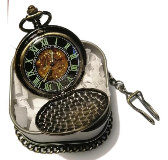 Reloj De Bolsillo Tipo Vintage Negro Mecanico De Cuerda 18