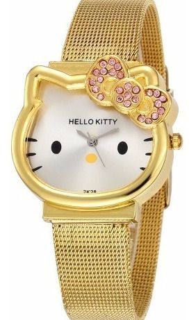 Relógio Hello Kitty Dourado Adulto