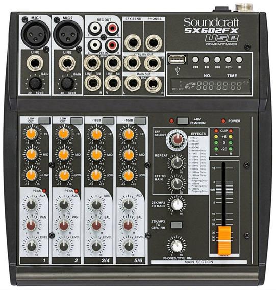 Mesa De Som C/ Efeito Soundcraft Sx602fx 6 Canais - Bivolt