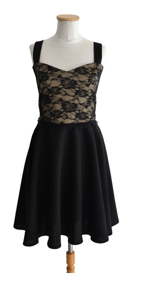 Vestido Plato Pin Up Cotton Saten Nude Encaje Falda Negra
