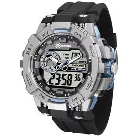 Relógio Masculino X-games Anadigi Xmppa238 Azul/grafite Novo