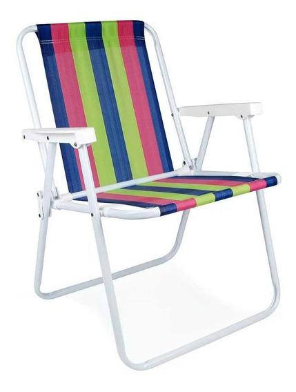 Cadeira De Praia Alta Dobrável Em Aço Mor