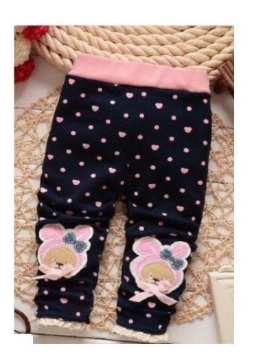 Legging De Lã Bebê Coraçãozinhos Azul Marinho Rosa 7-12m