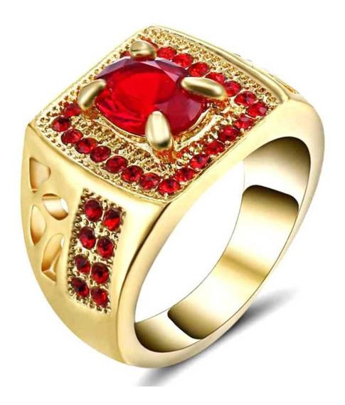 Anel Banhado Ouro Masculino Imperador Rubi Vermelho 914 I