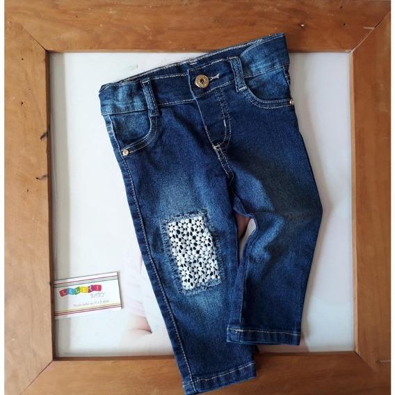 Calça Jeans Bebe Menina Com Guippir