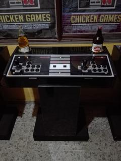 Tablero Arcade Con Portavasos Y Base De Madera