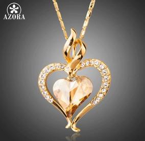 Colar Com Coração Presente Namorado Folheado Ouro Com Pedras