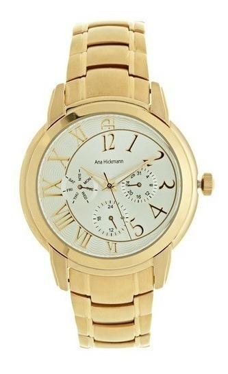 Relógio Feminino Ana Hickmann Dourado Gold Original Ah30111h