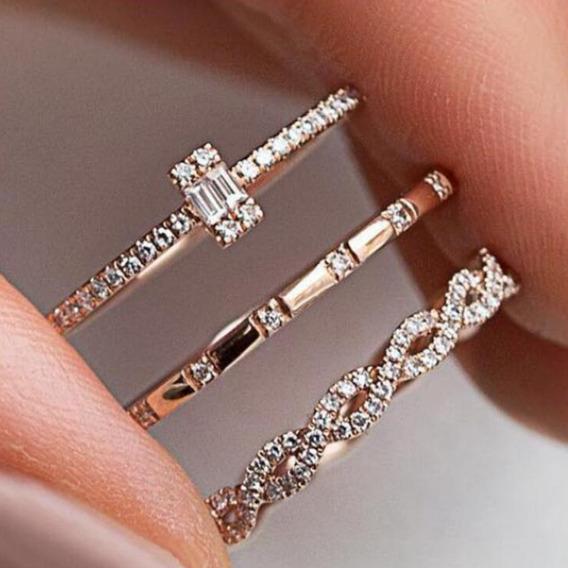 3 Pçs/set Liga De Diamante Completa Elegante Anel De Noivad
