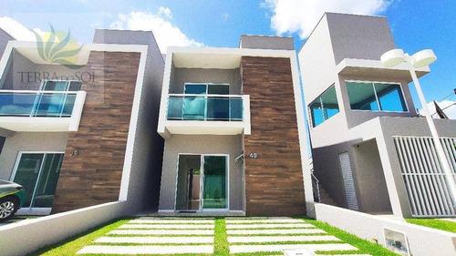 Imagem 1 de 28 de Casa Duplex Em Condomínio Fechado No Eusébio. - Ca1038