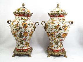 Par De Ânforas Potiche Em Porcelana Europeia E Puro Bronze