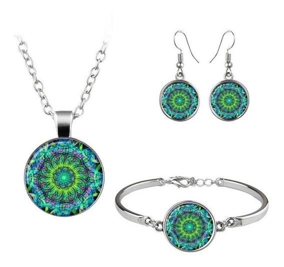 3 En 1 Collar Pendientes Y Pulsera Mandala Flor Verde
