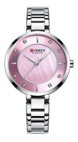 Relógio Curren Feminino De Pulso Mod C9051l - Prata E Rosa