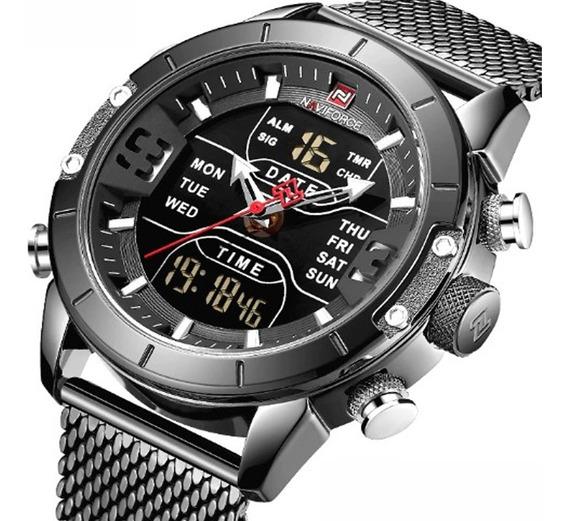 Relógio Masculino Naviforce 9153 Preto Esporte Militar