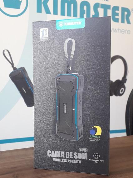 Caixa De Som Bluetooth Kimaster Preta - Resistente À Água.