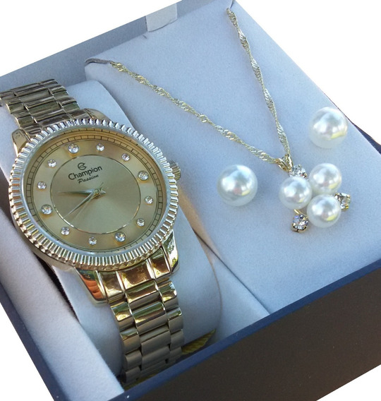 Kit Relógio Champion Feminino Dourado Passion Cn29829e