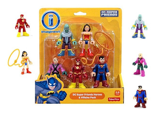 Set 5 Muñecos Imaginex Dc Super Friends Flash Superman