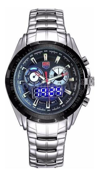 Relógio Masculino De Pulso Quartzo Aço Tvg - Frete Grátis