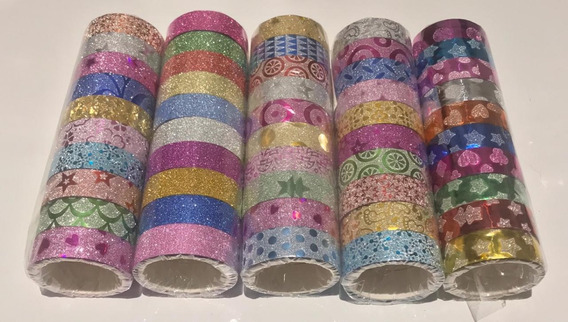 10 Fitas Washi Tape Adesiva Glitter Decorativa Artesanato
