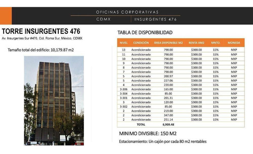 Imagen 1 de 1 de Torre Insurgentes 476 - Roma Sur 798m2 , $300
