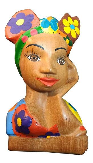 Boneca Namoradeira Escultura Madeira - Artesanato Mineiro