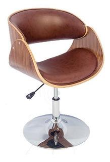 Cadeira Escritório Madeira Curvada Marrom Pu Base Cromo