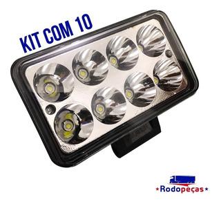 Kit 10 Farol De Milha Retangular 8 Leds Bivolt 24w Caminhão