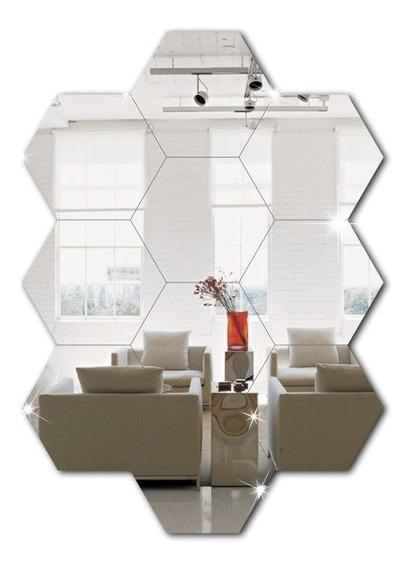 Espelho Em Acrilico Decorativo Hexagonal Kit Com 10 Peças