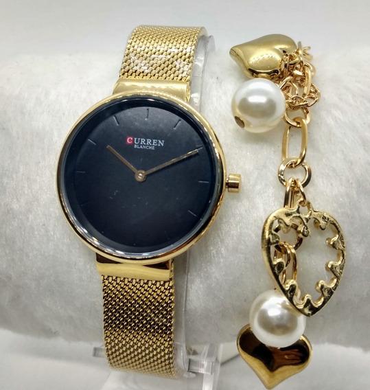 Relógio Feminino Original Curren Dourado Barato