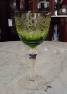 Cálice (s) Taça Verde Para Vinho Branco Ricamente Lapidado