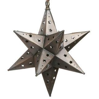 12 Inch Mexican Hanging Tin Star Light - Star Cut
