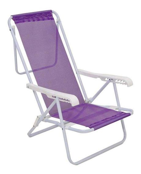 Cadeira De Praia Reclinável Aço 8 Posições Lilas Mor