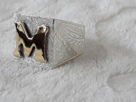 Anel Dedeira De Prata Com Letra De Ouro