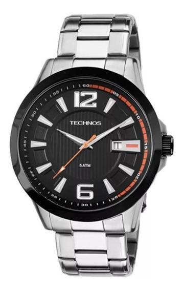Relógio Masculino Technos Pulseira Em Aço   Casual   Elegante   Moderno   Prata - Ref. 2115knv/1p