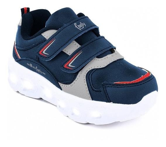 Zapatillas Footy Flash Azul Con Luz Al Pisar Fx323 (0323)