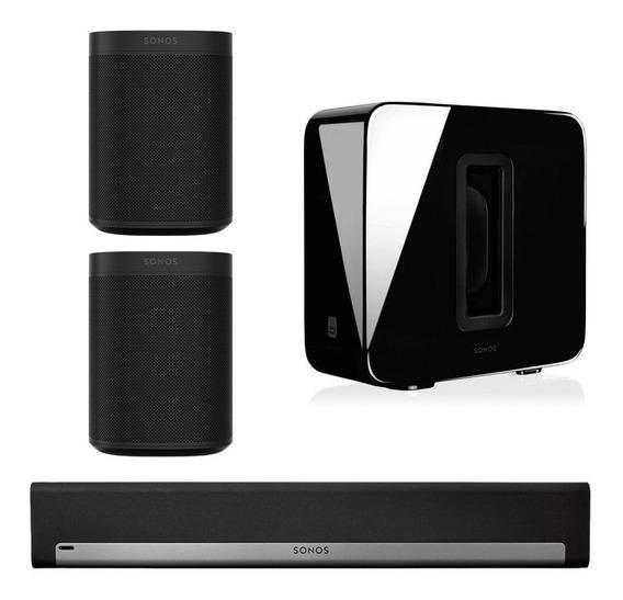 Sonos Home Theater 5.1 Wireless Subwoofer, Soundbar, 2 One S