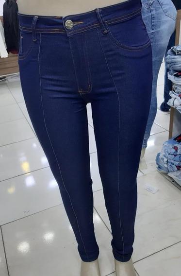 Calça Jeans Feminina Plus Size Cintura Alta Lycra Skinny