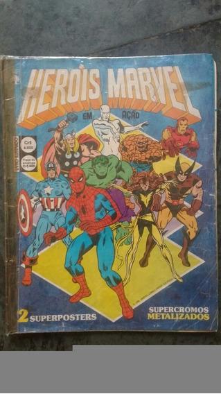 Álbum De Figurinhas Heróis Marvel 1986 Com Poster Incompleto