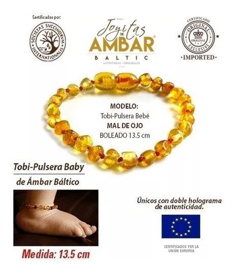 Pulsera Ámbar Baltico Para Dentición Bebé Mal De Ojo 14.5cm
